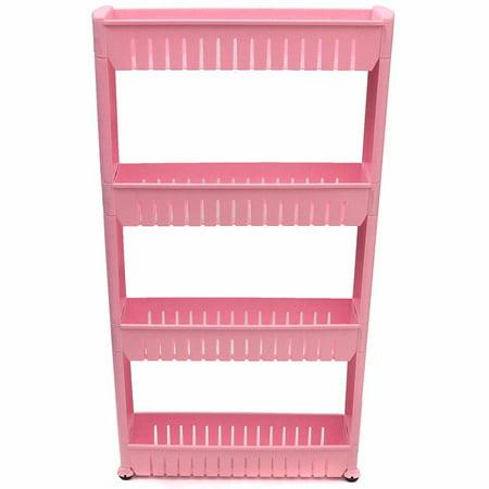 Jeteven 4 Shelfs Moving Rack Kitchen Storage Shelf Wall Cabinets Bedroom  Bathroom 4 Tiers Organizer DIY US,Pink color