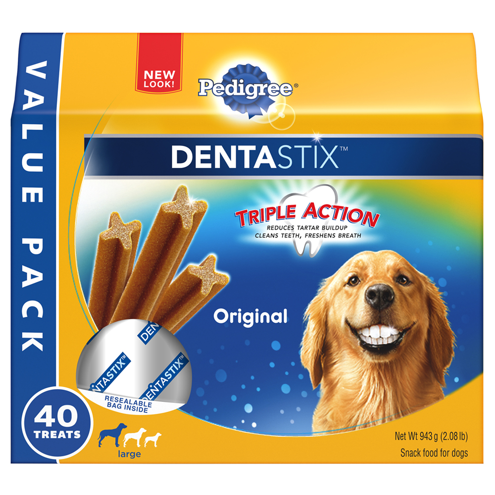 PEDIGREE DENTASTIX Original Large Treats for Dogs - Value Pack 2.08 Pounds 40 Treats