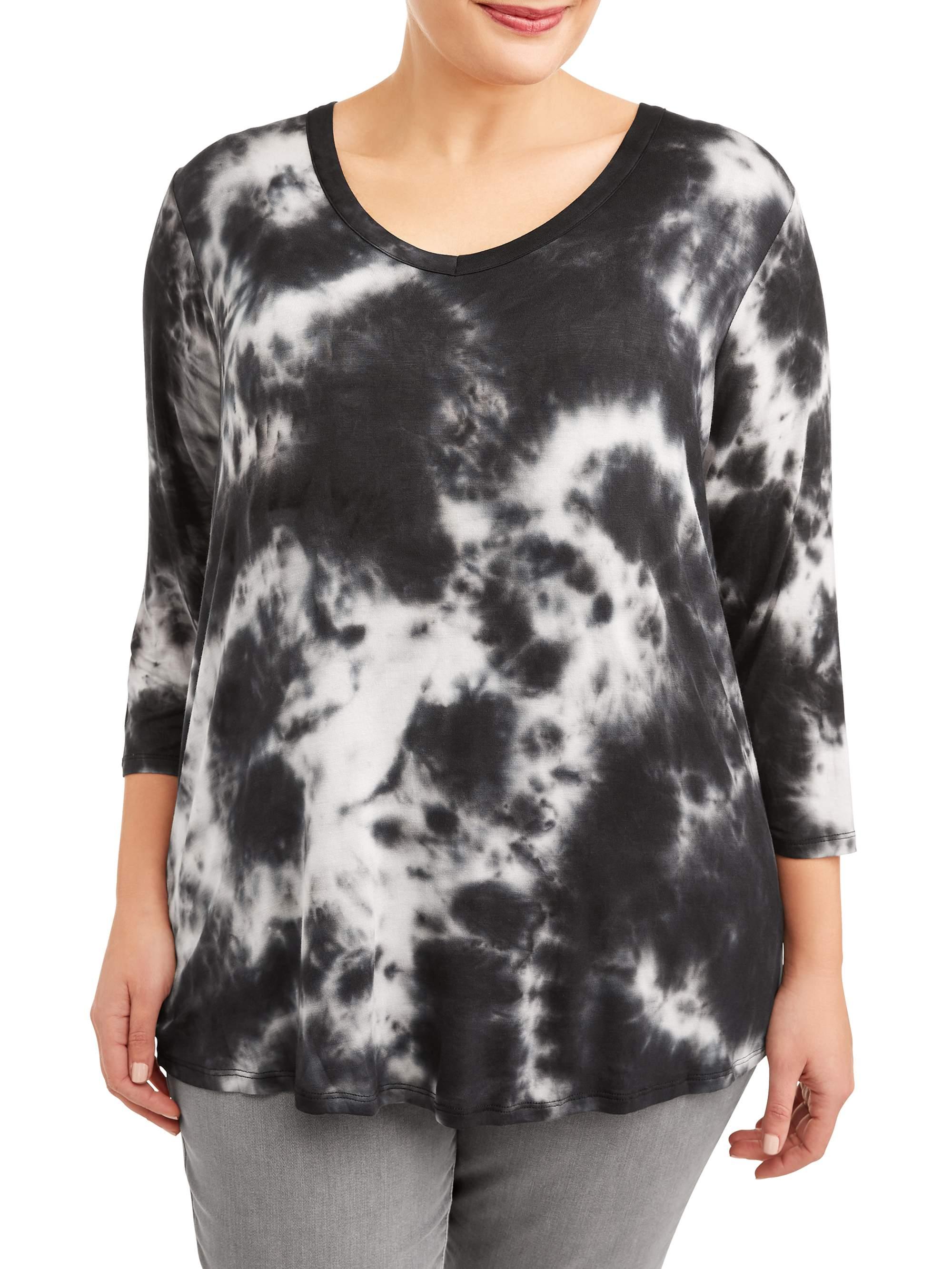 2df4aa476 Tru Self - Women's Plus Size V-Neck Tie Dye Elbow Sleeve Tunic - Walmart.com