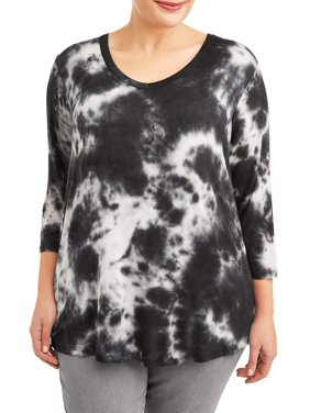 b405ceb33259f Product Image Women s Plus Size V-Neck Tie Dye Elbow Sleeve Tunic