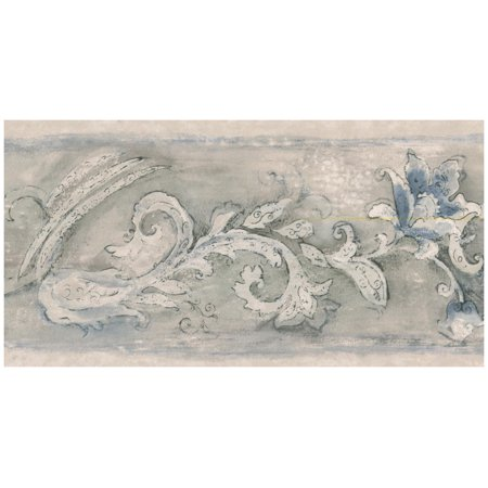 - Prepasted Wallpaper Border - Baroque Scroll Blue Flower Wall Border Retro Design, Roll 15 ft. x 5 in.
