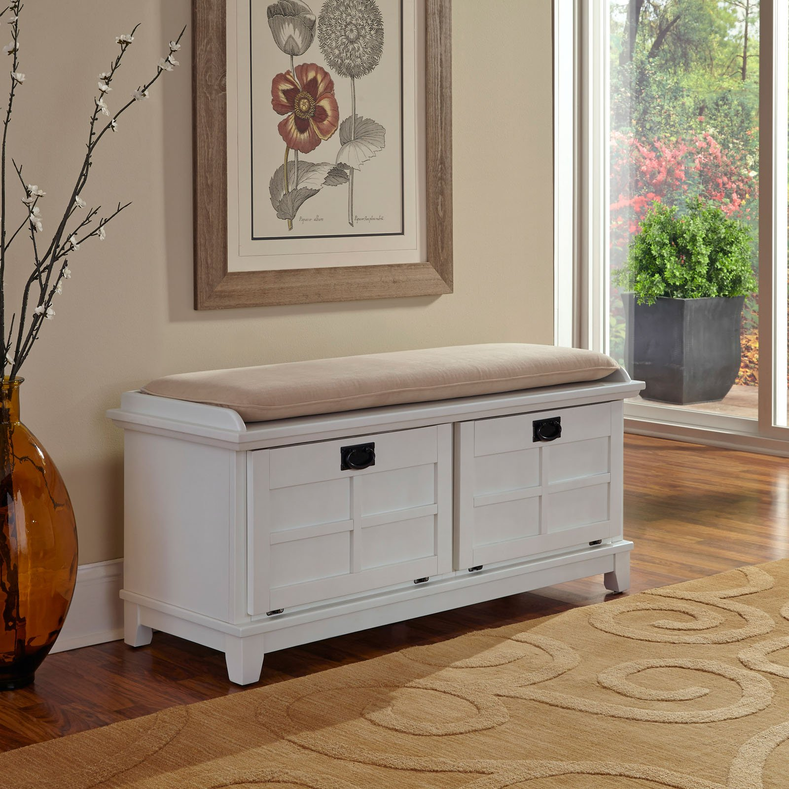 Arts & Crafts White Upholstered Bench