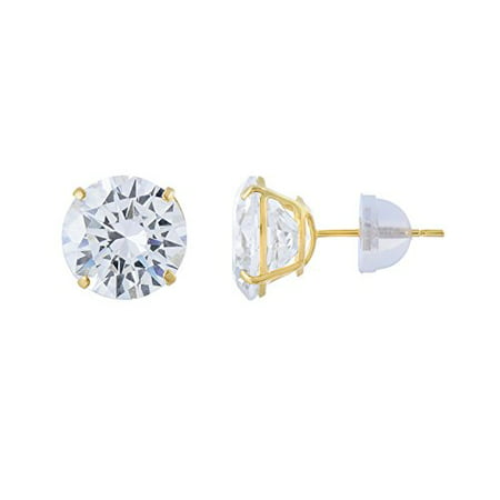 14kt Solid Yellow Gold Super Bright Clear Cz Basket Setting Round Pushback St...
