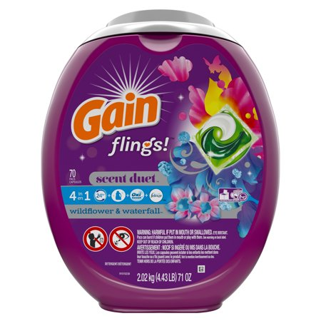 Gain Wildflower & Waterfall Flings! Liquid Laundry Detergent Pacs, 70