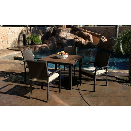 Julius Jay Wicker South Beach 5 Piece Patio Arm Chair Dining Set with Cushions ()