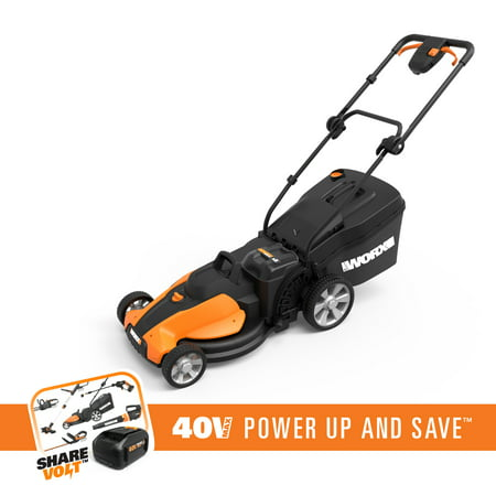 WORX WG750 40V LAWNMOWER WITH INTELLICUT, SINGLE-LEVER HEIGHT ADJUSTMENT  AND TWO (2) MAXLITHIUM BATTERIES