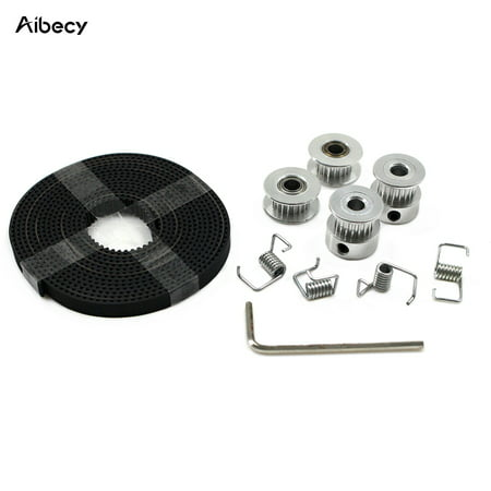 Aibecy 2Pcs GT2 Pulley Wheel 20 Teeth Bore 5mm + 2m GT2 Timing Belt 6mm Width + 2Pcs Idler + 4Pcs Tensioner Torsion Spring + Wrench for 3D Printer Parts Acessories