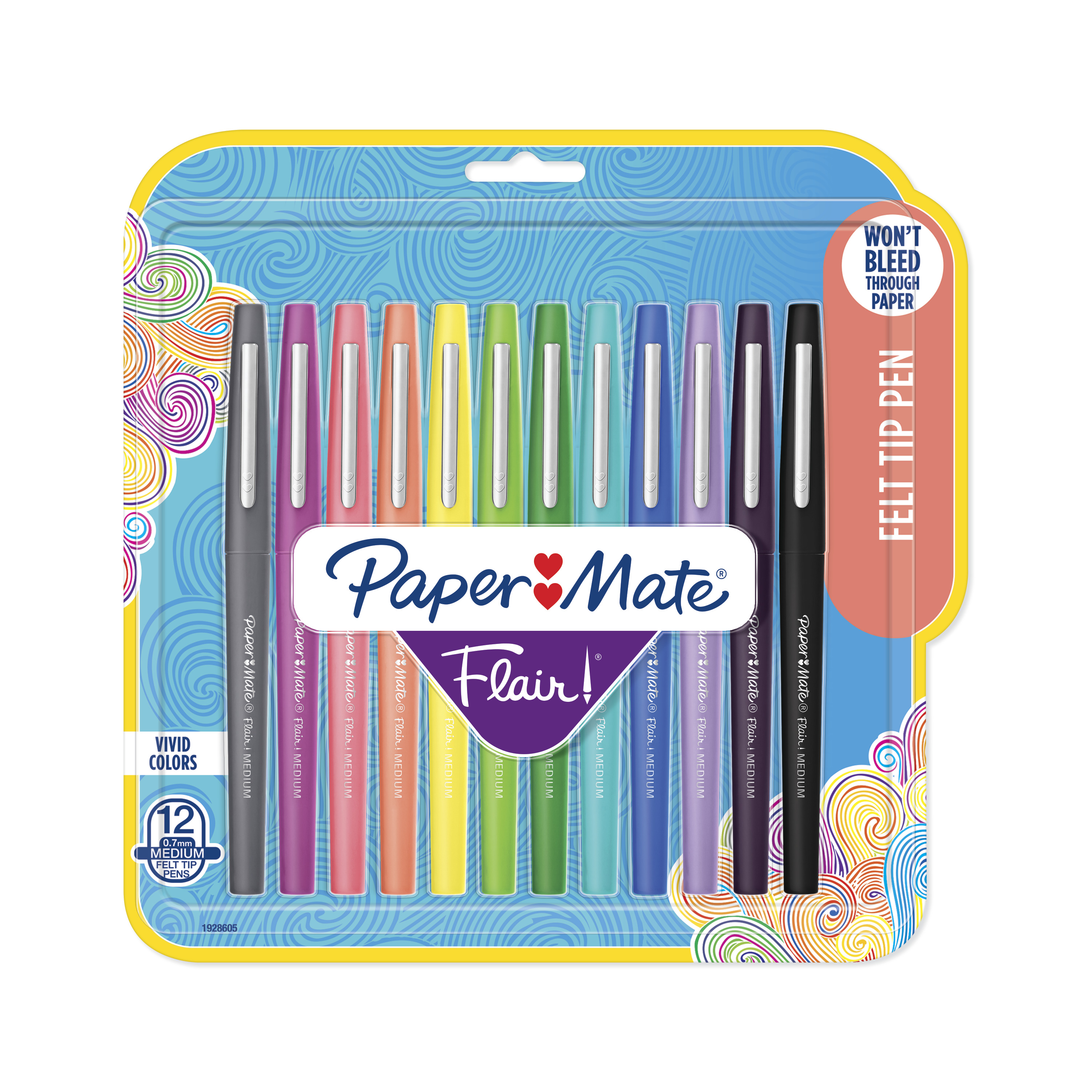 Paper Mate Point Guard Flair Bullet Point Stick Pen, Assorted Colors, .7mm, 12/Set