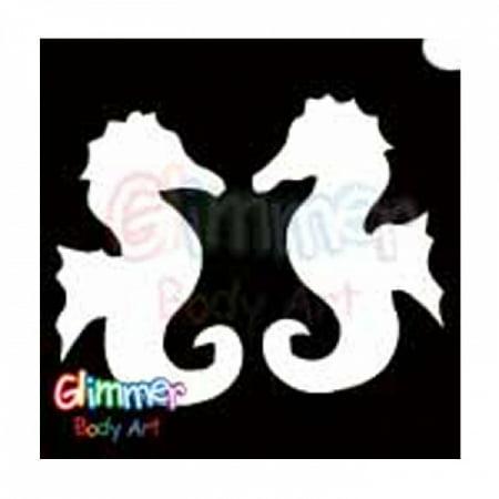 Glimmer Body Art Glitter Tattoo Stencils - Sea Horses 5/pk - Sea Tattoo