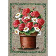 """Geraniums and Daisies Spring House Flag Floral Decorative Yard Banner 28"""" x 40"""""""