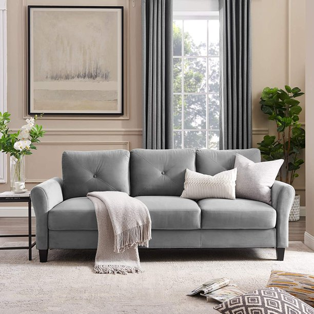 LITTLE TREE 86 inch Sofa Couch Mid-Century Modern Plush Fabric Sofa Couch for Living Room, Small Space (Light Grey)