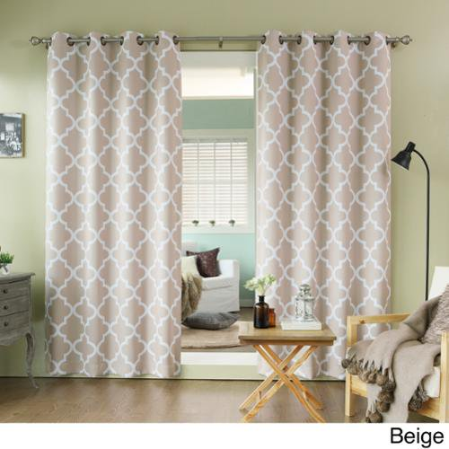 Aurora Home Moroccan Tile 96 Inch Window Curtain Panel Pair Beige