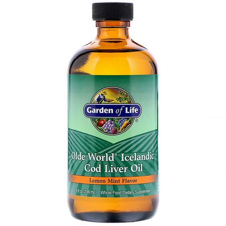 8 Ounce Liver - Garden of Life Cod Liver Oil Liquid, Lemon-Mint, 8 oz