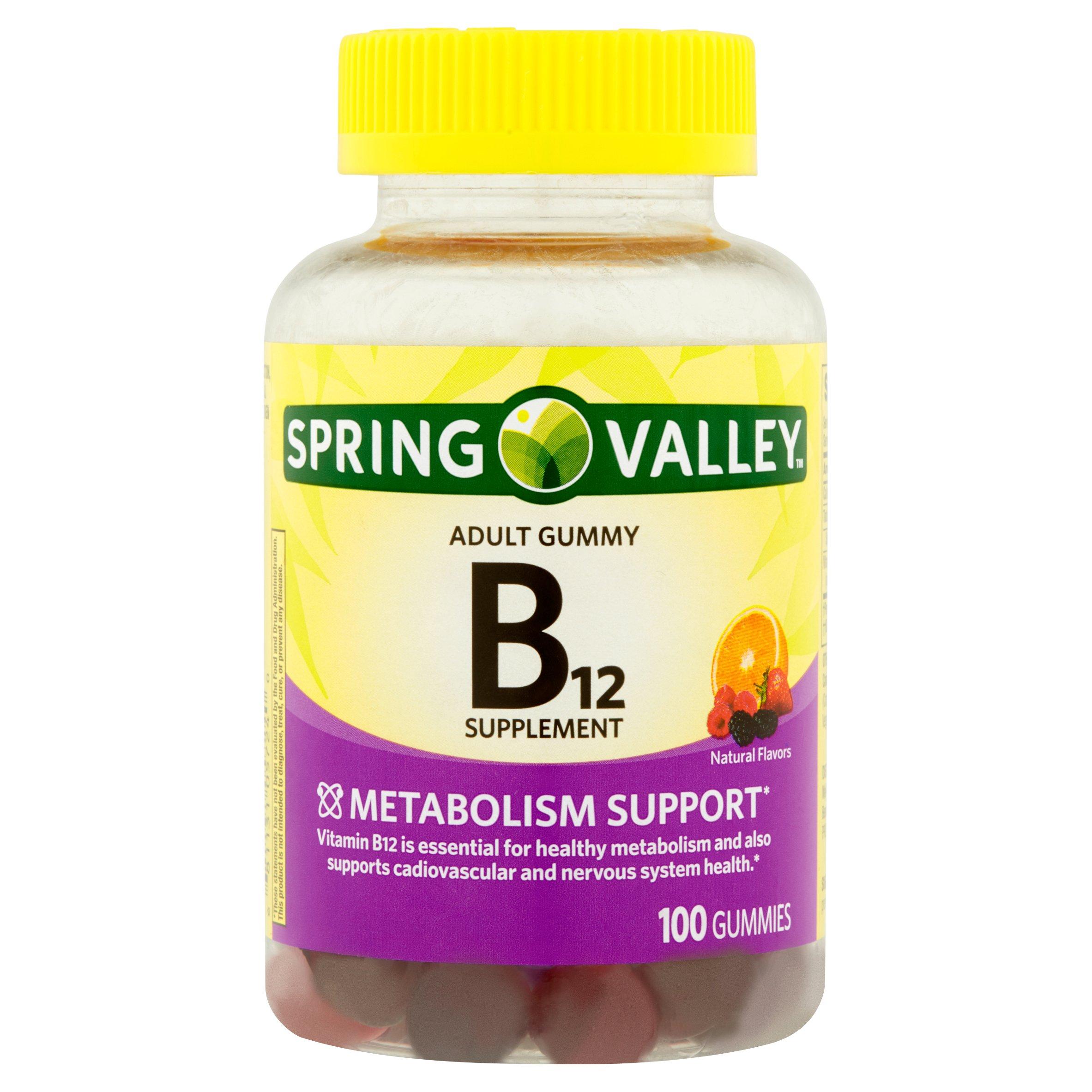 Spring Valley Vitamin B12 Adult Gummies, 500 mcg, 100 Ct