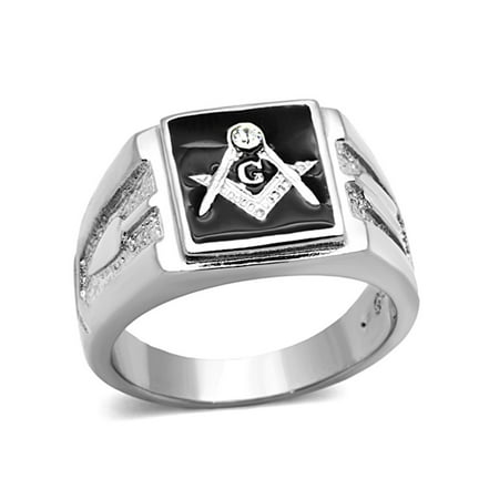 Solid Back Square Face 316 Stainless Steel Masonic Men's Onyx Ring- Size (Stainless Steel Square Ring)