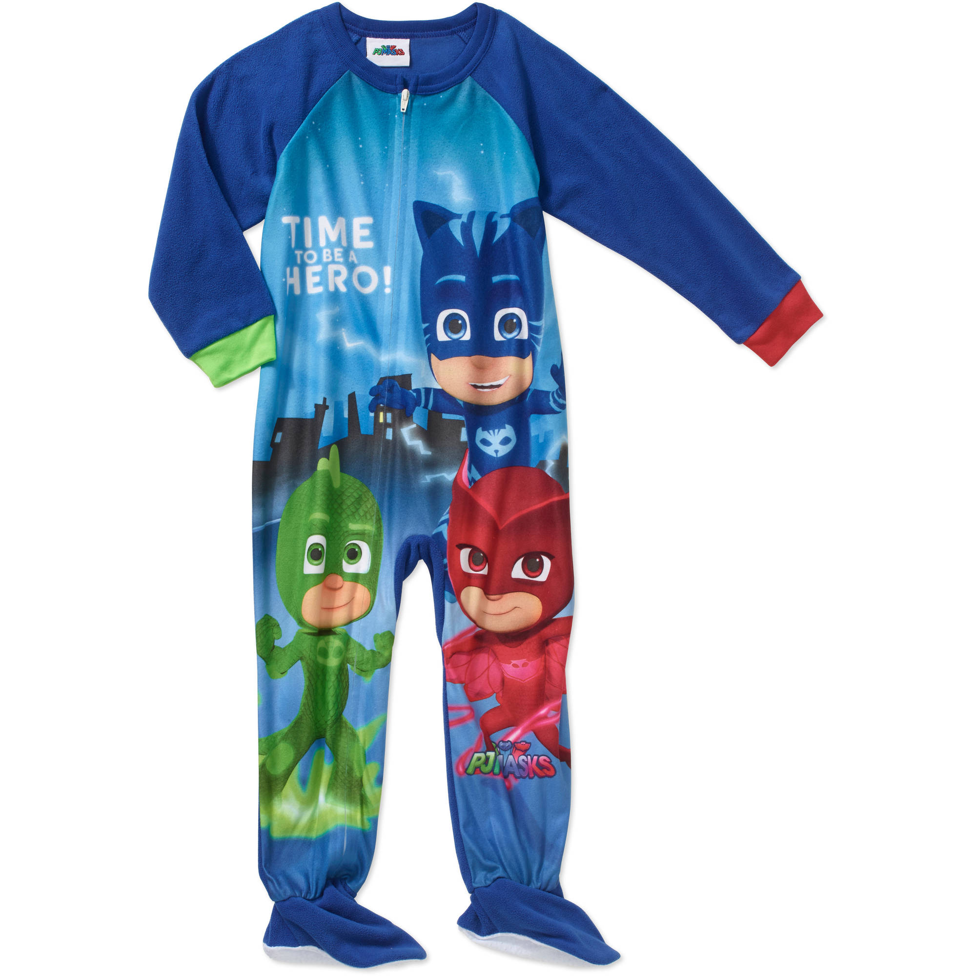 PJ Masks Toddler Boy Micro Fleece Footed PJ