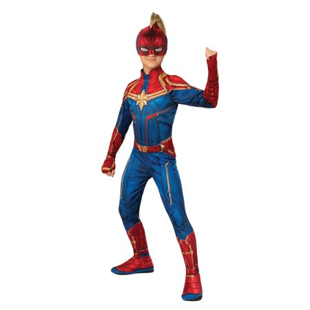 Pebbles Costume Halloween (Halloween Avengers Captain Marvel Hero Suit Child)