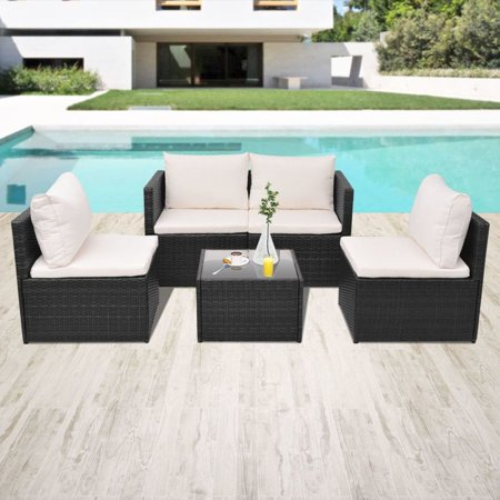 Rattan Patio Furniture Set Chairs Storage Tea Coffee Table Cushions Kit Outdoor Garden Chairs ()