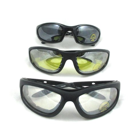 f2d1017313 1 2 or 3 Pairs Combo Foam Padded Clear Smoke Yellow Motorcycle Riding  Glasses - Walmart.com