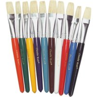 Creativity Street Color Coded Flat Stubby Brushes, Assorted, Yellow, Blue, Green, Orange, Brown, White, Turquoise, Black, Purple, 10 / Set (Quantity)