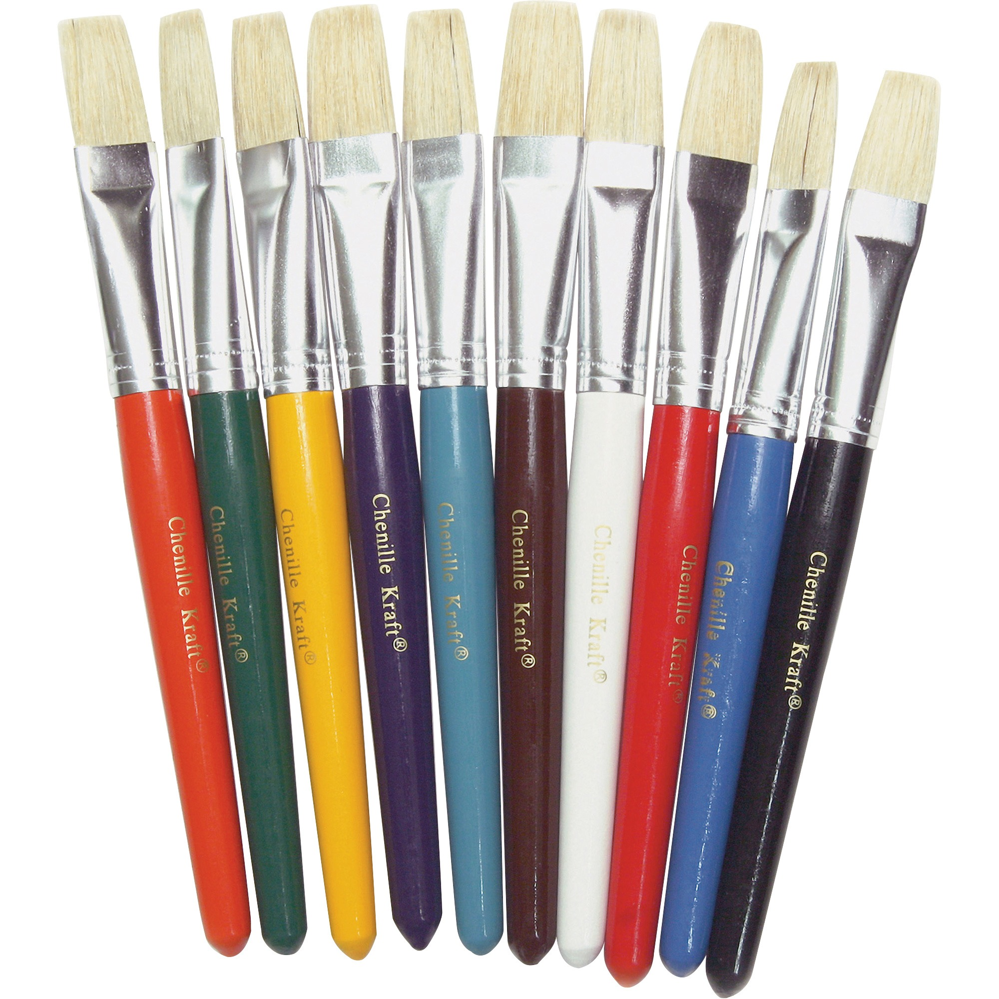 Creativity Street, CKC5184, Color Coded Flat Stubby Brushes, 10 / Set, Assorted,Yellow,Blue,Green,Orange,Brown,White,Turquoise,Black,Purple
