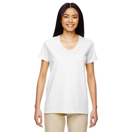 Gildan g500vl heavy cotton ladies v neck t shirt white 2x for Large v neck t shirts