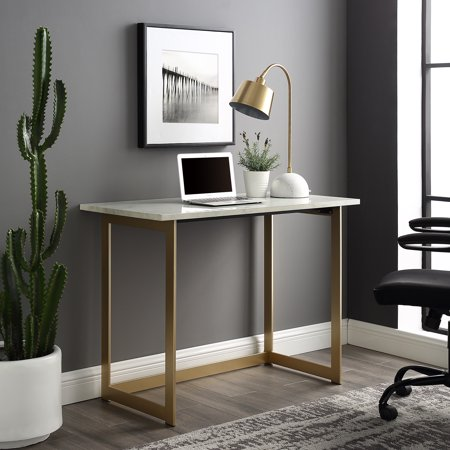 Maple Office Desks (Manor Park Modern Writing Computer Desk - White Faux Marble / Gold)