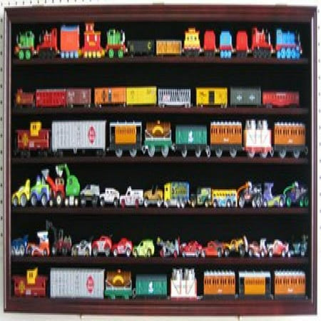 Large HO Scale Train Display Case Rack Cabinet Wall Mounted Shadow Box w/ UV Protection- Lockable-Mahogany Finish (HW05-MA)