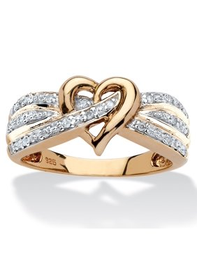 1/10 TCW Round Diamond Crossover Heart Ring in 18k Yellow Gold over Sterling Silver