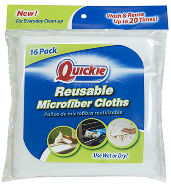 Quickie Reusable Microfiber Cloths, 16-Pack, White