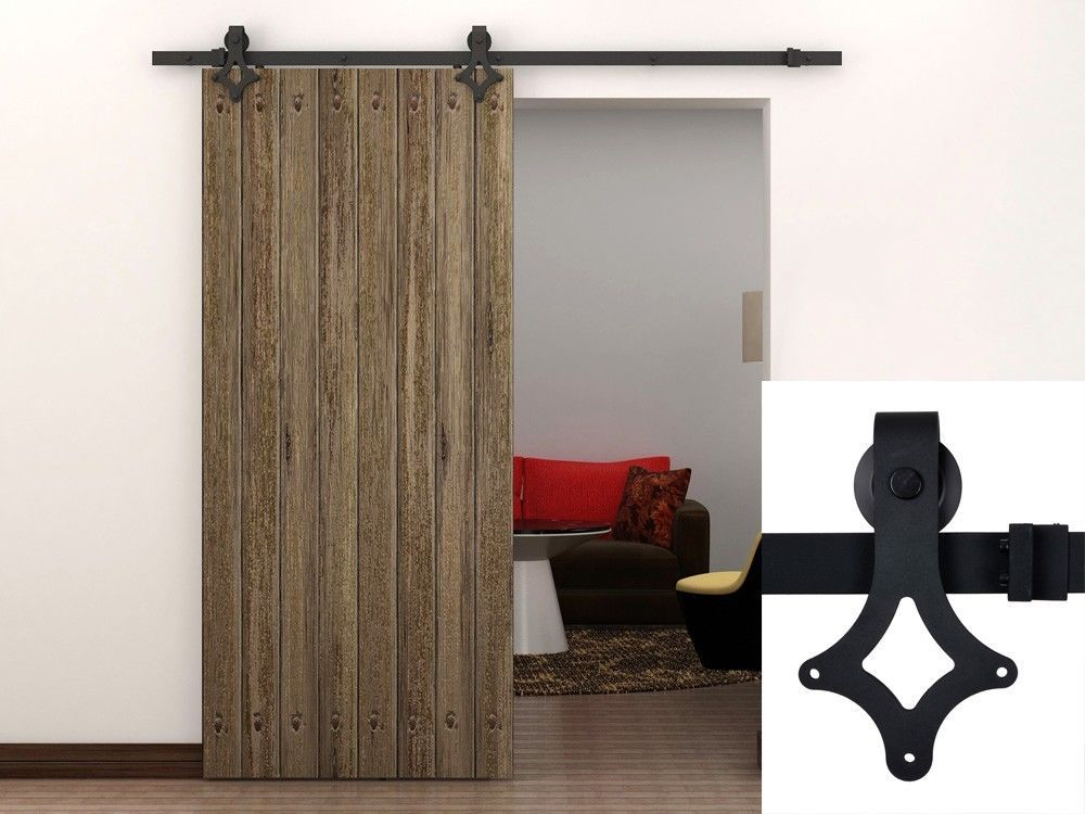 TMS 6FT American Country Style Sliding Barn Door Track Hardware Kit Frosted  Black Steel