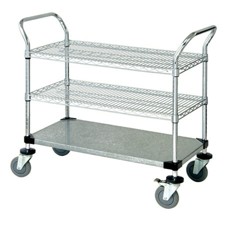 "Image of ""18"""" Deep x 60"""" Wide x 39"""" High 3 Tier Heavy Duty Chrome Wire Utility Cart with 2 Wire Shelf & 1 Solid Shelf"""