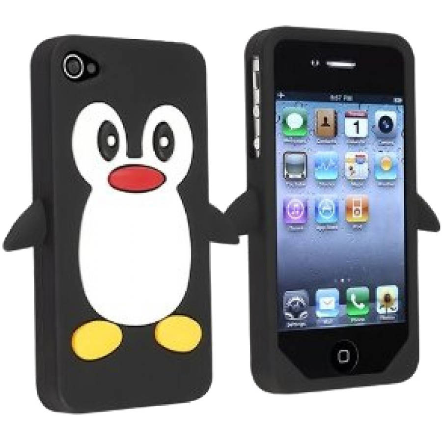 KIKO Wireless iPhone 4 4S 3D Penguin Case Shock Absorbent Protective Anti Scratch Cover Skin Amusing Cartoon Special Design Soft Gel Silicone for Apple iPhone 4 4S