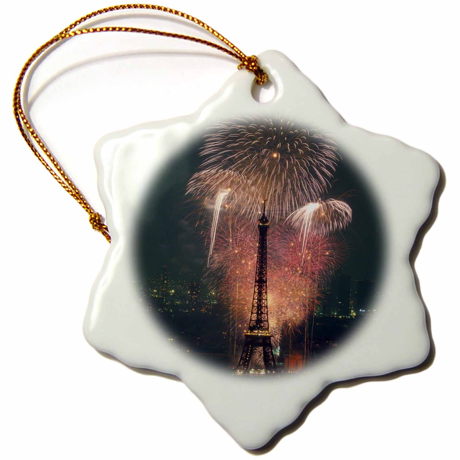 3dRose Fireworks, Eiffel Tower, Paris, France - EU09 ABA0106 - Alex Bartel, Snowflake Ornament, Porcelain, 3-inch