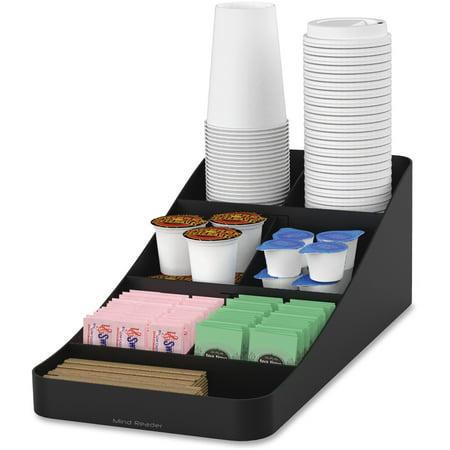 Mind Reader, EMSCOMP7BLK, EMS Mind Trove 7-Condiment Coffee Organizer, 1 Each, Black