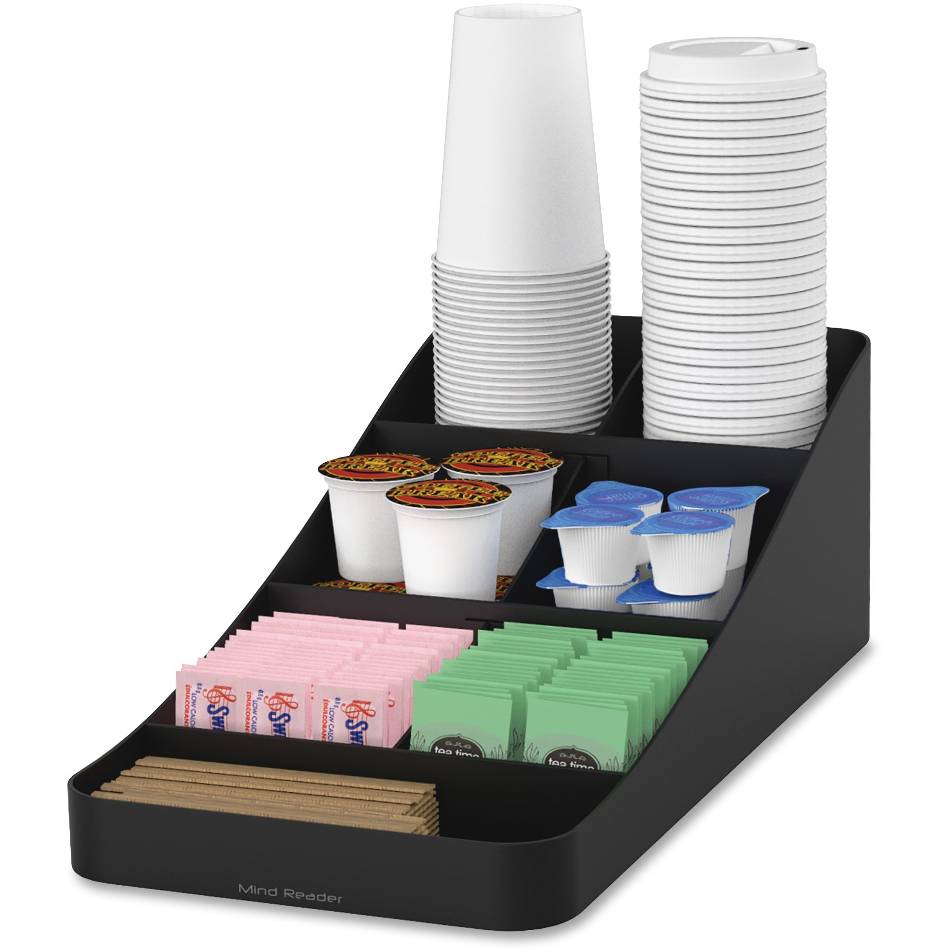 Mind Reader, EMSCOMP7BLK, EMS Mind Trove 7-Condiment Coffee Organizer, 1 Each, Black
