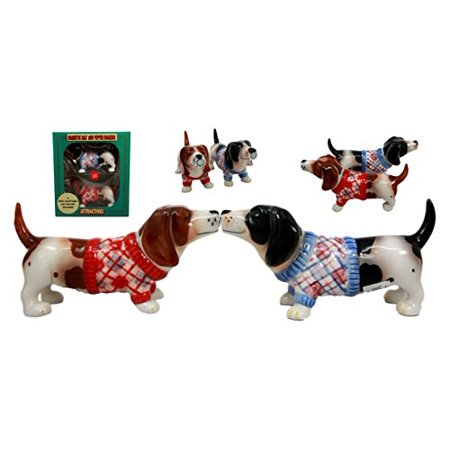 Atlantic Collectibles French Basset Hounds In Winter Sweater Magnetic Ceramic Salt Pepper Shakers Figurine Collectible Set - Basset Hound Costumes Halloween