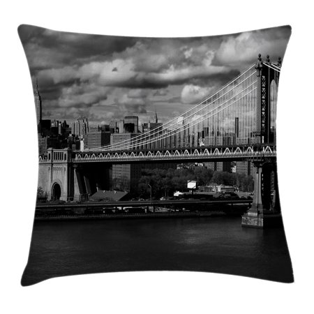 New York Throw Pillow Cushion Cover, Black and White Panorama of New York City Skyline with Focus on Manhattan Bridge Photo, Decorative Square Accent Pillow Case, 16 X 16 Inches, Grey, by Ambesonne ()