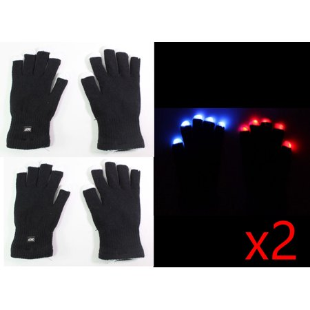 4 gloves ( 2 pair ) of 7 Mode LED Light Up Flashing Red Blue Green Glow Rave Black White Finger Party Gift Gloves](Green Glow 4 Price)