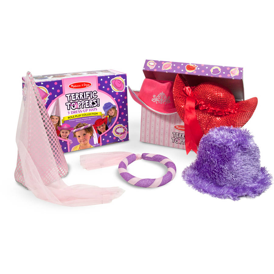 Melissa & Doug Terrific Toppers! Dress-Up Hats, Pink/Purple