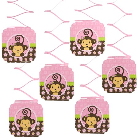 Monkey Girl - Party Hanging Decorations - 6 Count - Sock Monkey Birthday Party