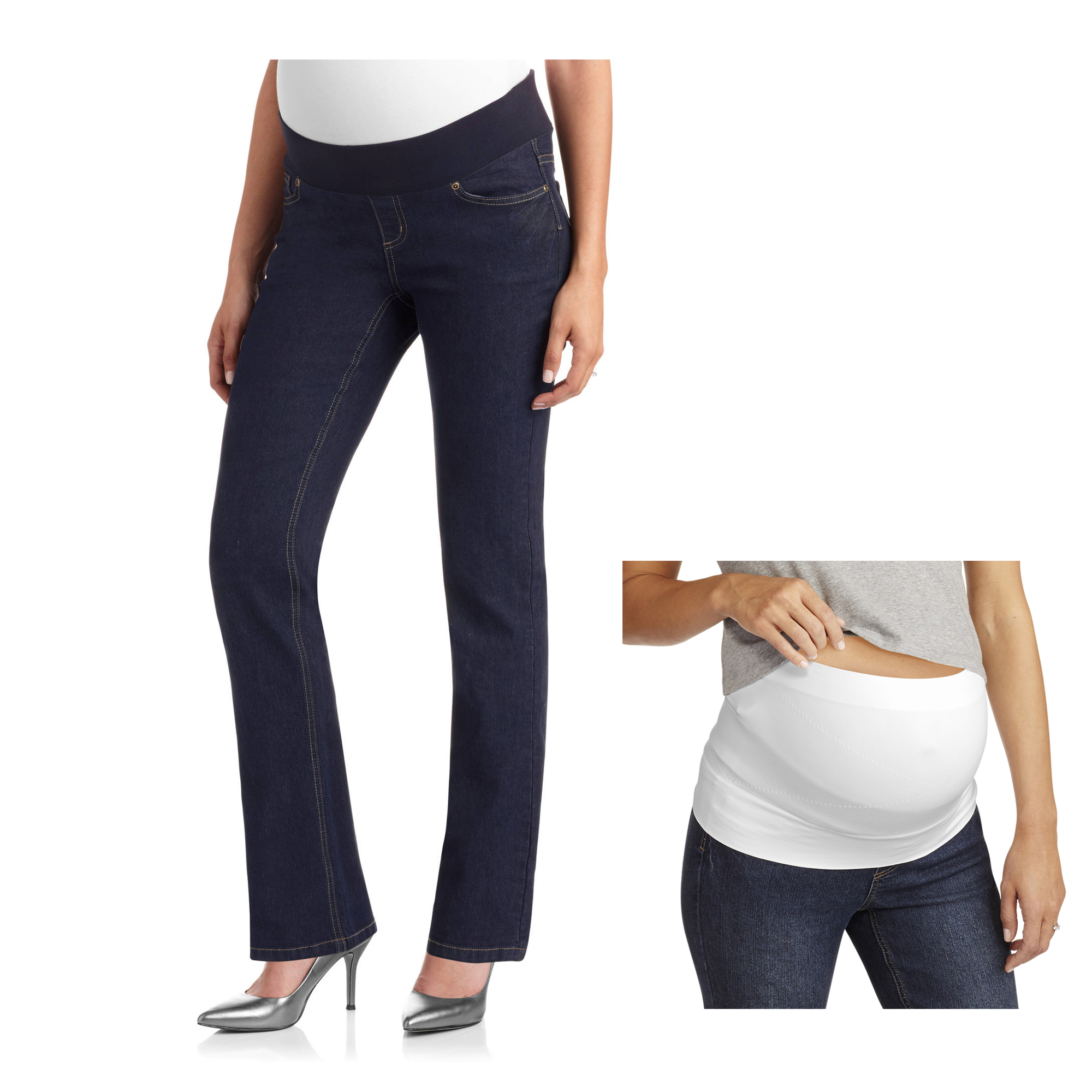 5-Pocket Bootcut Maternity Jeans & Belly Support Band Bundle