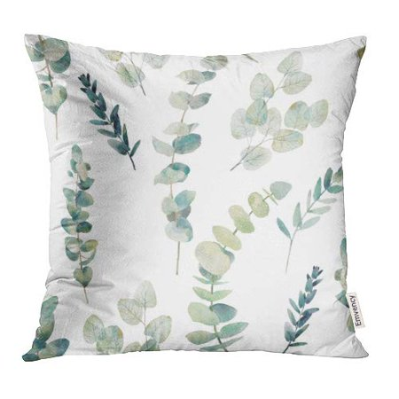 YWOTA Green Leaf Watercolor Eucalyptus Branches Hand Floral with Plant Objects on White Natural Greenery Twig Pillow Cases Cushion Cover 18x18 inch