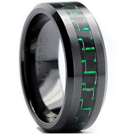 8Mm Flat Top Mens Black Ceramic Ring Wedding Band With Black   Green Carbon Fiber Inaly