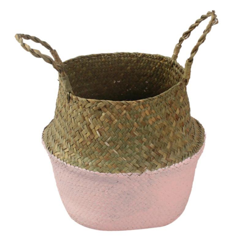 Home Storage Decor Basket Seagrass Wickerwork Rattan Foldable Woven Box