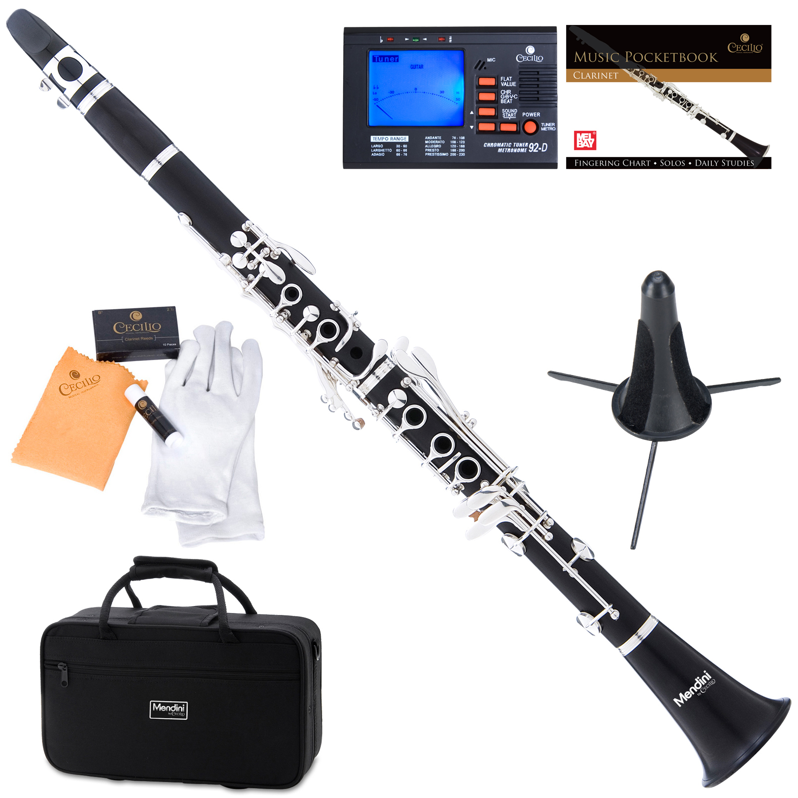 Mendini by Cecilio MCT-40 Ebony Wood Bb Clarinet w/Silver Plated Keys, Italian Pads, 1 Year Warranty, Stand, Tuner, 10 Reeds, Pocketbook, Mouthpiece, Case, B Flat