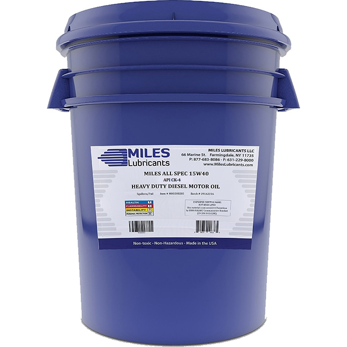 Miles All Spec 15W40 API CJ-4, Heavy Duty Diesel Motor Oil, 5-Gallon Pail