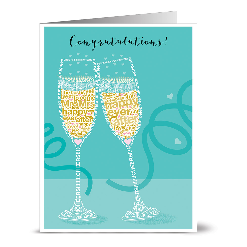 24 Note Cards - Congratulations to the New Mr. & Mrs. - Blank Cards - Gray Envelopes Included