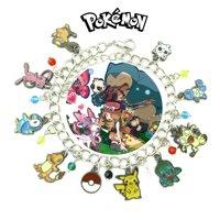 Pokemon 9 Charm Bracelet Anime Manga Series Jewelry Multi Charms - Wristlet - Superheroes Brand Movie Comic Cartoon Collection