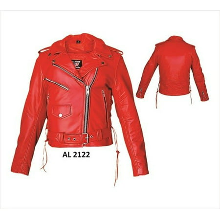 Ladies 2XL Size Red motorcycle Premium Cowhide Leather full sleeve zip out lining Biker Jacket
